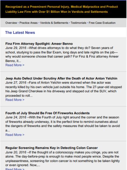 June 2016 Finz & Finz newsletter