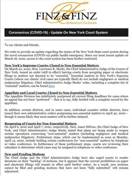 COVID-19 Finz & Finz court system update
