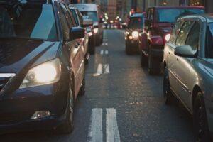 cars sitting in traffic in manhattan, NY