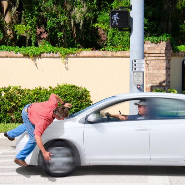 a pedestrian is hit by a car