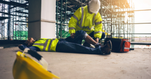 Construction worker has an accident while working on new building