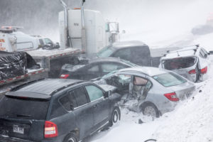 winter car accident pileup in Long Island, New York