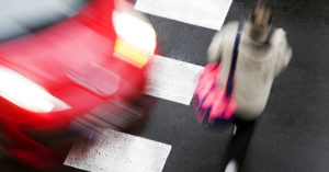 crosswalk of street city with woman in dangerous situation