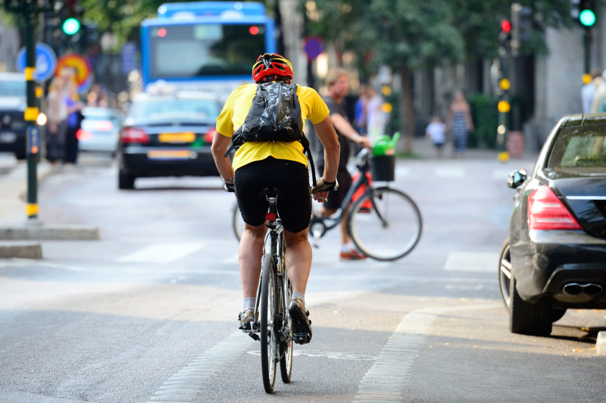 New York cyclist on their way to work