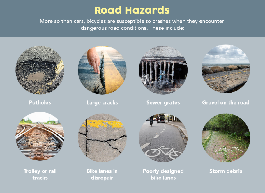 road hazards can cause bicycle accidents in NY