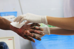 burn injury victim being treated in a NY hospital for their injuries