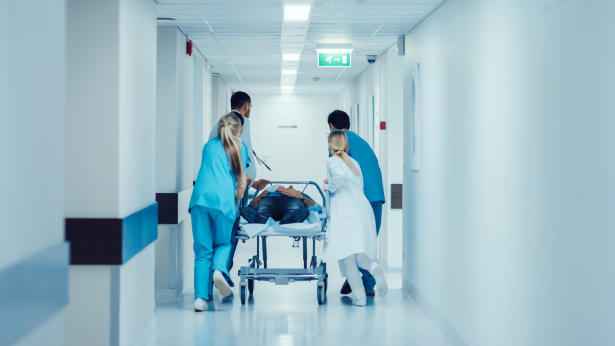 nurses in a new york hospital hallway